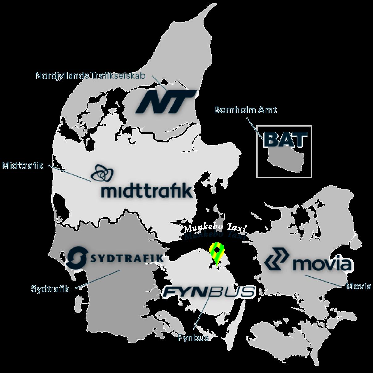 Danmarkskort Trafikselskaber & Munkebo Taxi placering https://www.munkebotaxi.dk